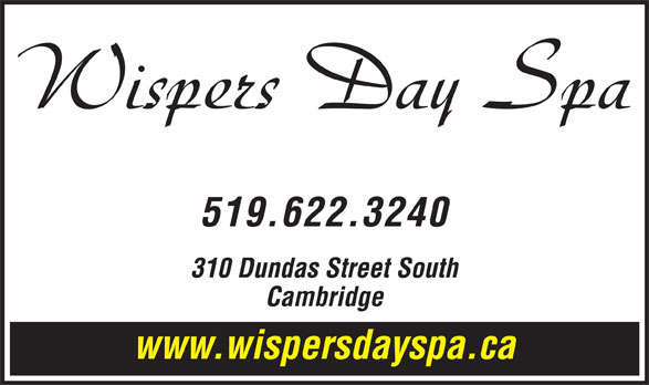 Wispers Hair and Day Spa (519-622-3240) - Annonce illustrée======= -