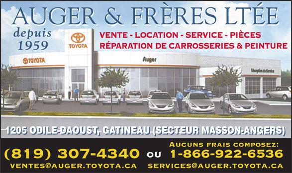 Auger Frere (819-986-2224) - Annonce illustrée======= - AUGER & FRÈRES LTÉE depuis VENTE - LOCATION - SERVICE - PIÈCES RÉPARATION DE CARROSSERIES & PEINTURE 1959 1205 ODILE-DAOUST, GATINEAU (SECTEUR MASSON-ANGERS) Aucuns frais composez: ou 1-866-922-6536 (819) 307-4340