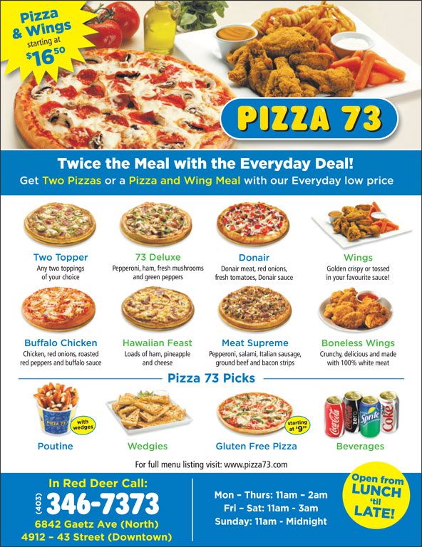 Pizza 73 (403-346-7373) - Annonce illustrée======= -