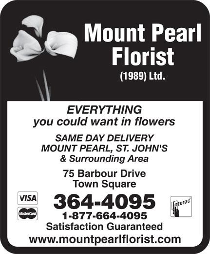 Mount Pearl Florist (1989) Ltd (709-364-4095) - Annonce illustrée======= -