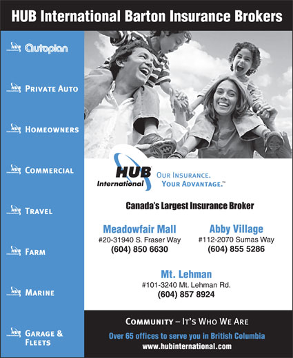 HUB International Barton Insurance Brokers (604-855-5286) - Display Ad -