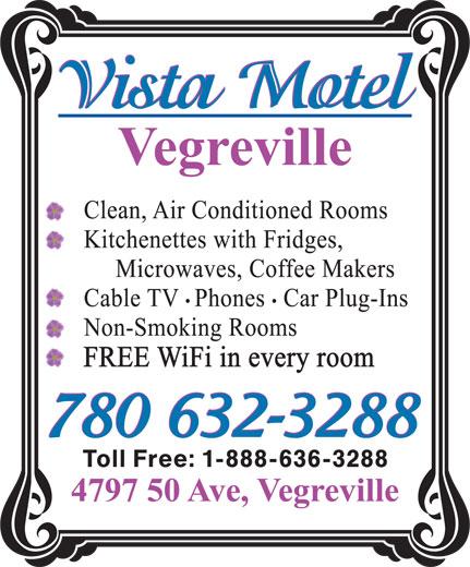 Vista Motel (780-632-3288) - Annonce illustrée======= -