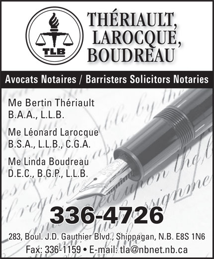 Thériault, Larocque, Boudreau (506-336-4726) - Display Ad -