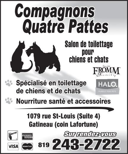Compagnons Quatre Pattes (819-243-2722) - Annonce illustrée======= -