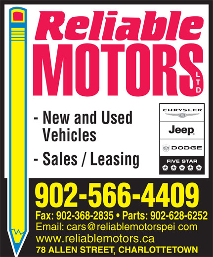 Reliable Motors Ltd (902-566-4409) - Annonce illustrée======= - - New and Used Vehicles - Sales / Leasing 902-566-4409 Fax: 902-368-2835   Parts: 902-628-6252 www.reliablemotors.ca
