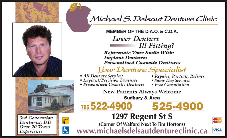 Delsaut Michael S Denture Clinic (705-522-4900) - Display Ad -