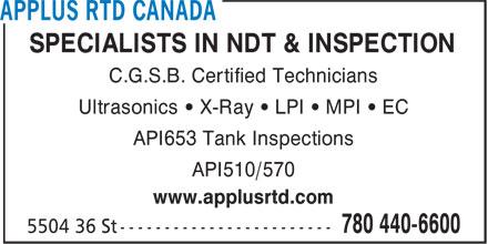 Applus RTD Canada (780-440-6600) - Annonce illustrée======= -