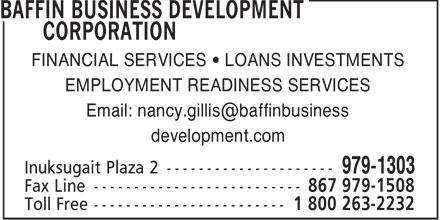 Baffin Business Development Corporation (867-979-1303) - Annonce illustrée======= -