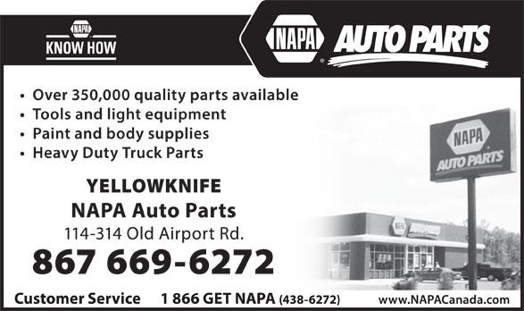 NAPA Auto Parts (867-669-6272) - Annonce illustrée======= -