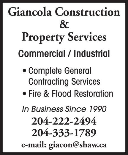 Giancola Construction & Property Management (204-222-2494) - Annonce illustrée======= -