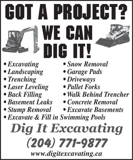 Dig It Excavating (204-771-9877) - Annonce illustrée======= -