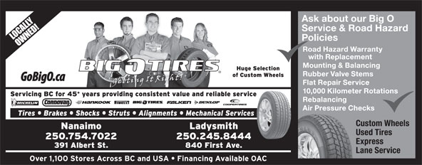 Big O Tires and Service Centres (250-754-7022) - Display Ad -