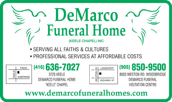 Demarco Funeral Home Keele Chapel Inc North York On