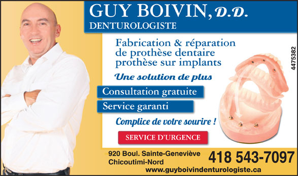 Boivin Guy (418-543-7097) - Annonce illustrée======= -