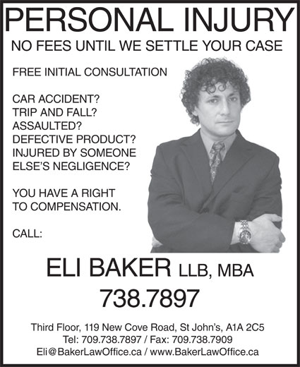 Eli Baker Law Office (709-738-7897) - Display Ad -
