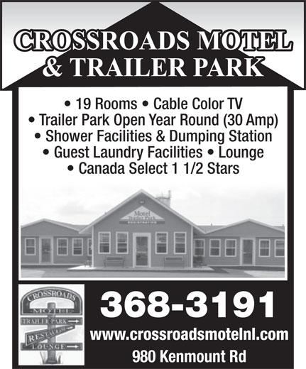 Crossroads Motel (709-368-3191) - Annonce illustrée======= -
