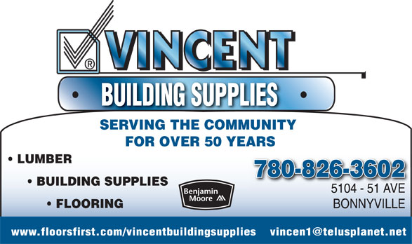 Vincent's Building Supplies (780-826-3602) - Annonce illustrée======= -