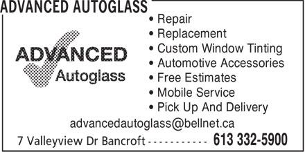 Advanced Autoglass (613-332-5900) - Annonce illustrée======= -