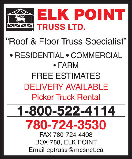 Elk Point Truss Ltd (780-724-3530) - Display Ad -