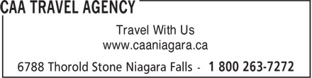 CAA Agence de Voyages (1-800-263-7272) - Annonce illustrée======= - Travel With Us www.caaniagara.ca