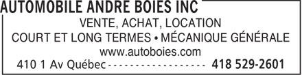 Automobile André Boies Inc (418-529-2601) - Annonce illustrée======= - VENTE, ACHAT, LOCATION COURT ET LONG TERMES   MCANIQUE GNRALE www.autoboies.com  VENTE, ACHAT, LOCATION COURT ET LONG TERMES   MCANIQUE GNRALE www.autoboies.com  VENTE, ACHAT, LOCATION COURT ET LONG TERMES   MÉCANIQUE GÉNÉRALE www.autoboies.com  VENTE, ACHAT, LOCATION COURT ET LONG TERMES   MÉCANIQUE GÉNÉRALE www.autoboies.com  VENTE, ACHAT, LOCATION COURT ET LONG TERMES   MCANIQUE GNRALE www.autoboies.com  VENTE, ACHAT, LOCATION COURT ET LONG TERMES   MCANIQUE GNRALE www.autoboies.com  VENTE, ACHAT, LOCATION COURT ET LONG TERMES   MÉCANIQUE GÉNÉRALE www.autoboies.com  VENTE, ACHAT, LOCATION COURT ET LONG TERMES   MÉCANIQUE GÉNÉRALE www.autoboies.com