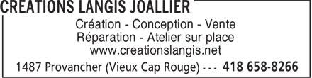 Créations Langis Joallier (418-658-8266) - Annonce illustrée======= - Création - Conception - Vente Réparation - Atelier sur place www.creationslangis.net