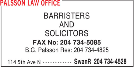 B G Palsson (204-734-4528) - Display Ad - BARRISTERS AND SOLICITORS FAX No: 204 734-5085 B.G. Palsson Res: 204 734-4825