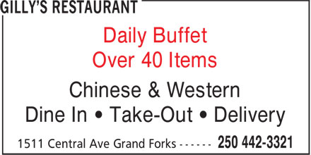 Gilly's Restaurant (250-442-3321) - Annonce illustrée======= - Chinese & Western Over 40 Items Dine In ¿ Take-Out ¿ Delivery Daily Buffet