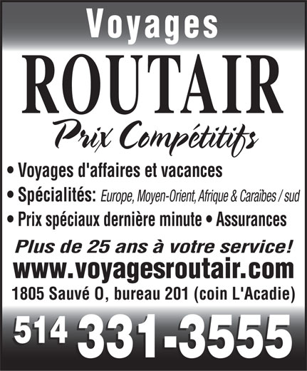 Voyages Routair (514-331-3555) - Display Ad -