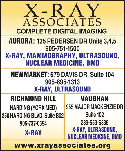 X-Ray Associates (289-553-6336) - Annonce illustrée======= -
