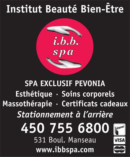 I B B Spa-Institut Beauté Bien-Etre (450-755-6800) - Display Ad -