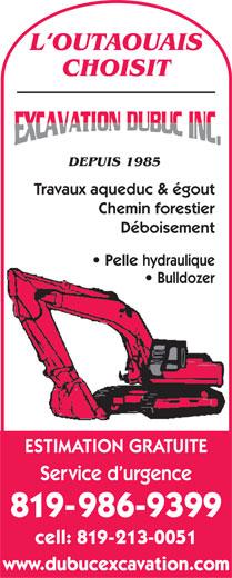 Dubuc Excavation Inc (819-213-0051) - Annonce illustrée======= -