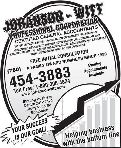 Johanson-Witt Professional Corp (780-454-3883) - Display Ad - Appointments (780) Available 454-3883 Toll Free: 1-800-308-4824 Helping business www.johansonwitt.com Sterling Business 2013 2012 2011 Centre 201-17420 2010 Stony Plain Rd Edmonton 2009 2008 2007 YOUR SUCCESS Helping business IS OUR GOAL! with the bottom linewith the bottom line JOHANSON - WITTJOHANSON - WITTPROFESSIONAL CORPORATION PROFESSIONAL CORPORATION CERTIFIED GENERAL ACCOUNTANTS WE OFFER PROFESSIONAL CONSULTATION ON BUSINESS AND PERSONAL ACCOUNTING DESIGNED TO IMPROVE YOUR BOTTOM LINE. CORPORATE AND PERSONAL INCOME TAX, REVIEW AND COMPILATION ENGAGEMENTS AND ASSISTANCEWITH THE INCORPORATION OF NEW COMPANIES FREE INITIAL CONSULTATION Evening A FAMILY OWNED BUSINESS SINCE 1980