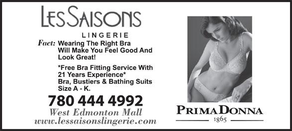 Les Saisons Lingerie (780-444-4992) - Annonce illustrée======= - Fact: West Edmonton Mall www.lessaisonslingerie.com Fact: West Edmonton Mall www.lessaisonslingerie.com