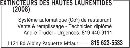 Extincteurs HI (819-623-5533) - Annonce illustrée======= - Système automatique (Co²) de restaurant Vente & remplissage - Technicien diplômé André Trudel - Urgences: 819 440-9111