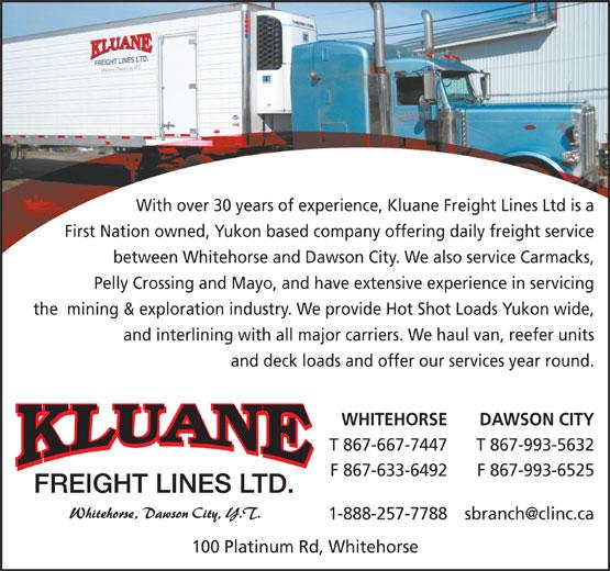 Kluane Freight Lines Ltd (867-667-7447) - Annonce illustrée======= -