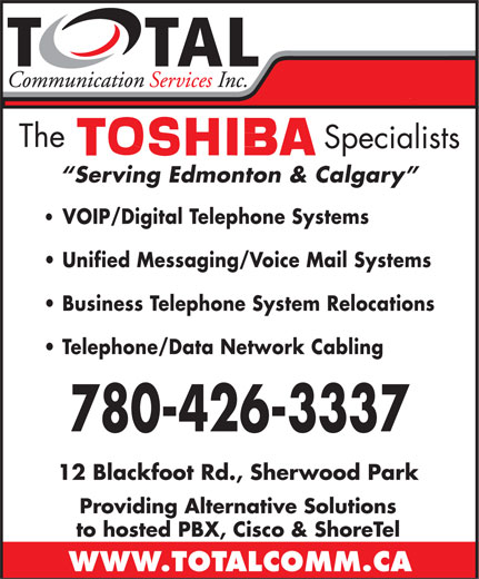 Total Communication Services Inc (780-426-3337) - Annonce illustrée======= -
