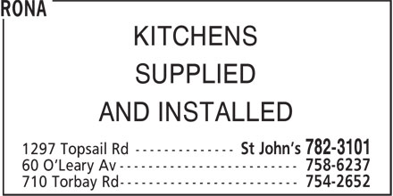 Rona (709-782-3101) - Annonce illustrée======= - KITCHENS SUPPLIED AND INSTALLED