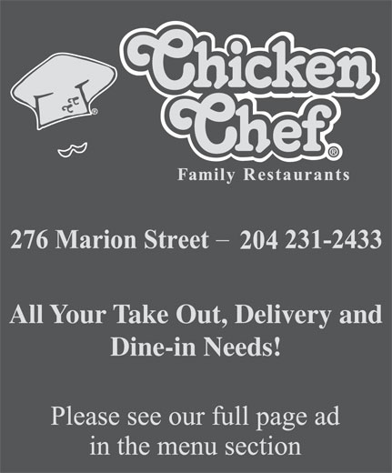 Chicken Chef Canada (204-231-2433) - Annonce illustrée======= - All Your Take Out, Delivery and Dine-in Needs!