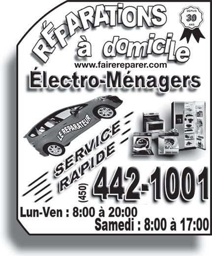 Le Réparateur (450-442-1001) - Annonce illustrée======= - www.fairereparer.com