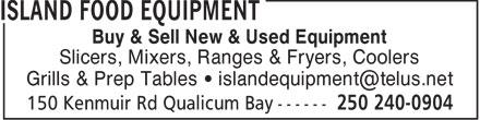 Island Food Equipment (250-240-0904) - Display Ad -