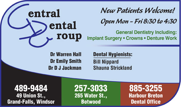 Central Dental Group (709-489-9484) - Annonce illustrée======= -