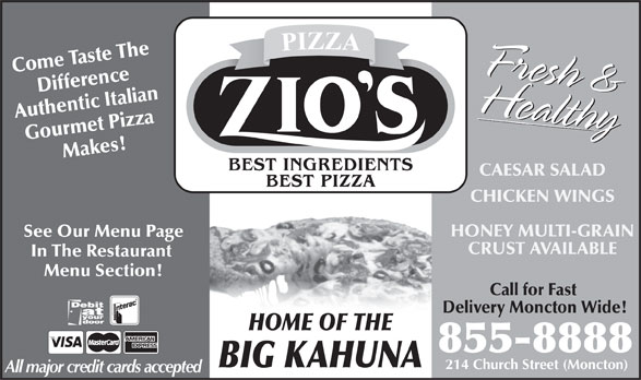 Zio's Pizzeria (506-855-8888) - Annonce illustrée======= -