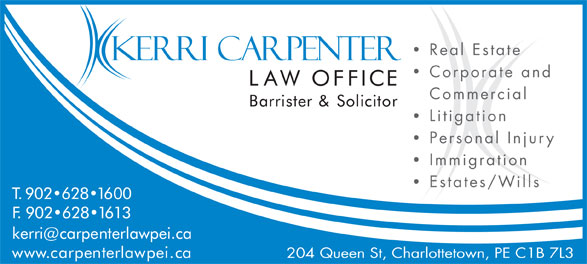 Carpenters Ricker (902-628-1600) - Display Ad - Real Estate Corporate and Commercial Litigation Personal Injury Immigration Estates/Wills 204 Queen St, Charlottetown, PE C1B 7L3