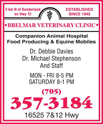 Brelmar Veterinary Clinic (705-357-3184) - Display Ad - 16525 7&12 Hwy