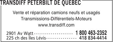 TransDiff Peterbilt de Québec (418-653-3422) - Annonce illustrée======= - Vente et réparation camions neufs et usagés Transmissions-Différentiels-Moteurs www.transdiff.com  Vente et réparation camions neufs et usagés Transmissions-Différentiels-Moteurs www.transdiff.com  Vente et réparation camions neufs et usagés Transmissions-Différentiels-Moteurs www.transdiff.com  Vente et réparation camions neufs et usagés Transmissions-Différentiels-Moteurs www.transdiff.com  Vente et réparation camions neufs et usagés Transmissions-Différentiels-Moteurs www.transdiff.com  Vente et réparation camions neufs et usagés Transmissions-Différentiels-Moteurs www.transdiff.com  Vente et réparation camions neufs et usagés Transmissions-Différentiels-Moteurs www.transdiff.com