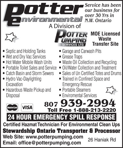 Potter Pumping Services Ltd (807-939-2994) - Display Ad -