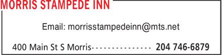 Morris Stampede Inn (204-746-6879) - Annonce illustrée======= - Email: morrisstampedeinn@mts.net