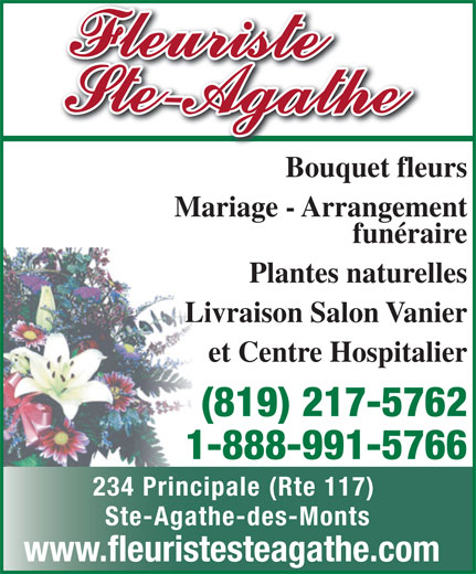 Fleuriste Ste-Agathe (819-326-7177) - Annonce illustrée======= - et Centre Hospitalier Bouquet fleurs Mariage - Arrangement funéraire Plantes naturelles Livraison Salon Vanier (819) 217-5762 1-888-991-5766 234 Principale (Rte 117) Ste-Agathe-des-Monts www.fleuristesteagathe.com