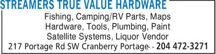 TRU Hardware Cranberry Portage (204-472-3271) - Display Ad - Fishing, Camping/RV Parts, Maps Hardware, Tools, Plumbing, Paint Satellite Systems, Liquor Vendor